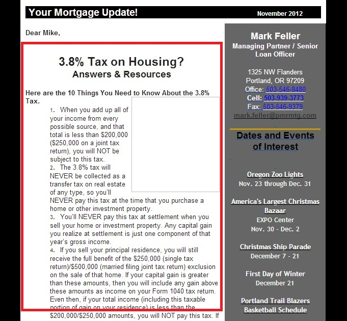 email newsletter from mortgage lender