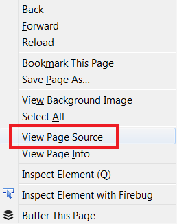 view page source right click