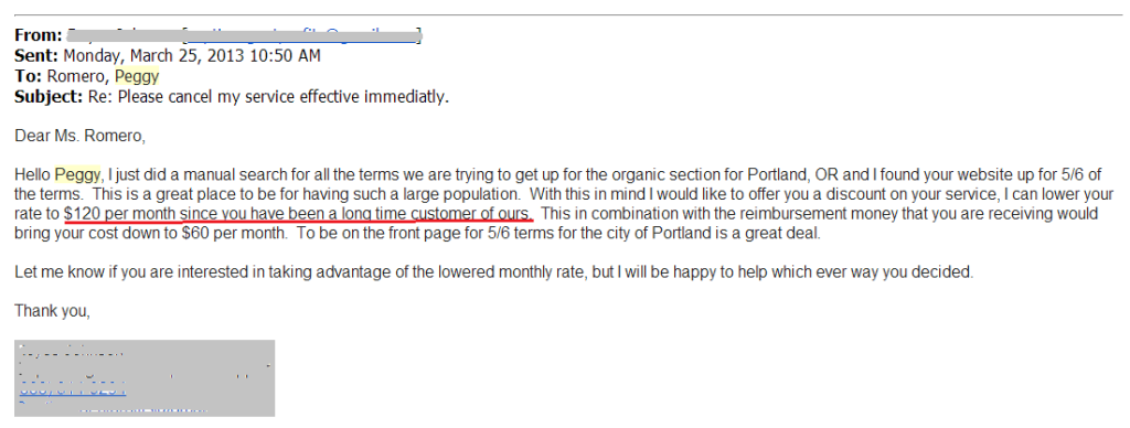 reply from spammy blog network operator