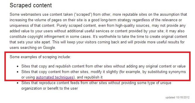 scraped content - google