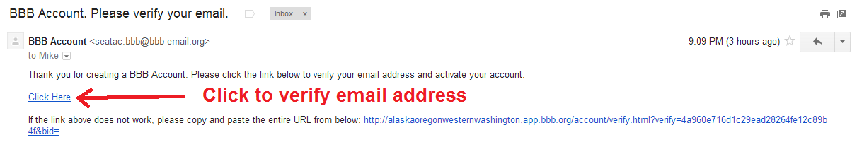 bbb - verify email