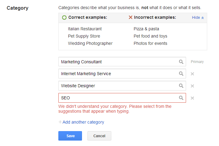 category info must be from googles list - google places