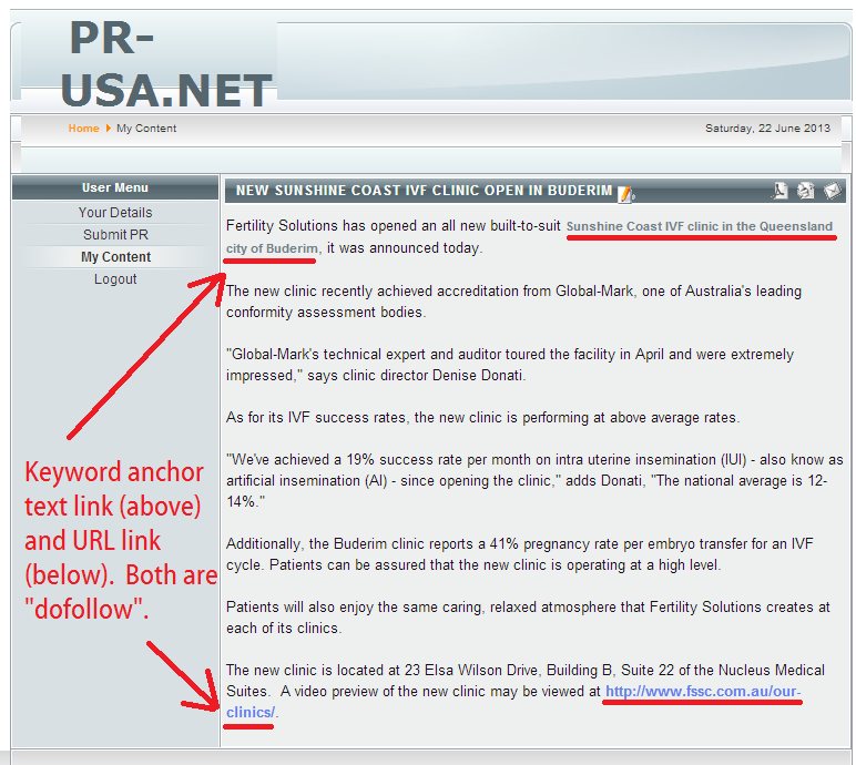 pr-usa published free press release with keyword anchor text as dofollow link