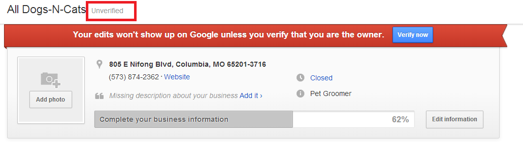 unverified google places listing