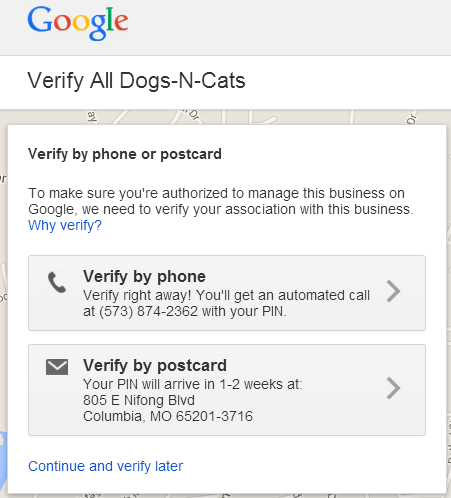 verify business on google places