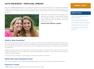 auto insurance page on peggy romero insurance website