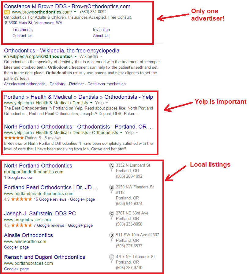 orthodontists search results in google