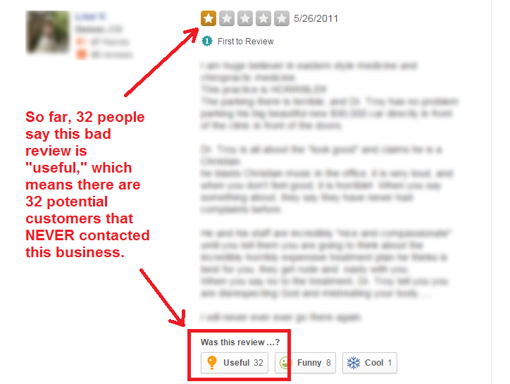 bad review on yelp