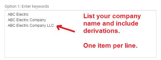 google keyword planner - list company name