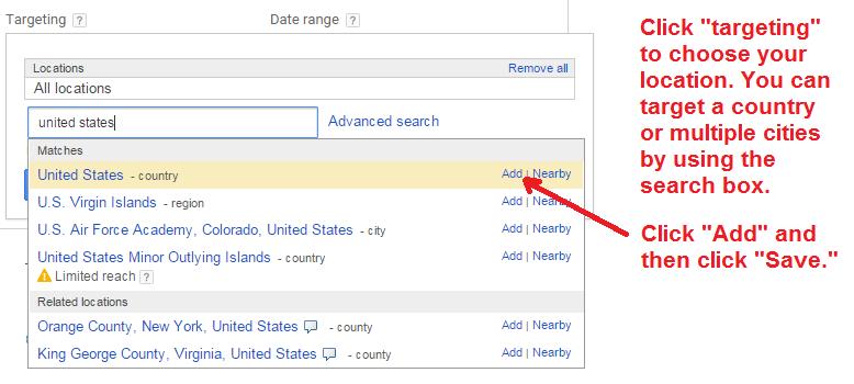 google keyword planner - targeting