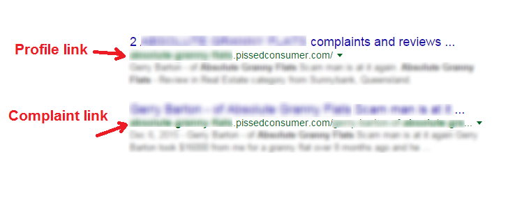 example of pissedconsumer link BEFORE removal