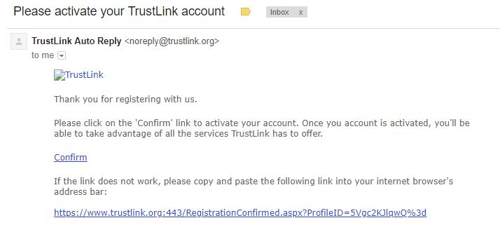 trustlink activation email