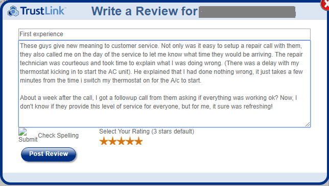 trustlink write review