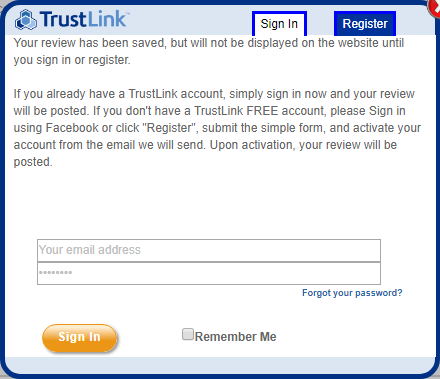 trustlink register to write review