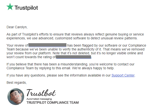 trustpilot compliance email