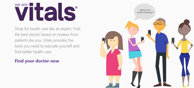 vitals homepage screenshot