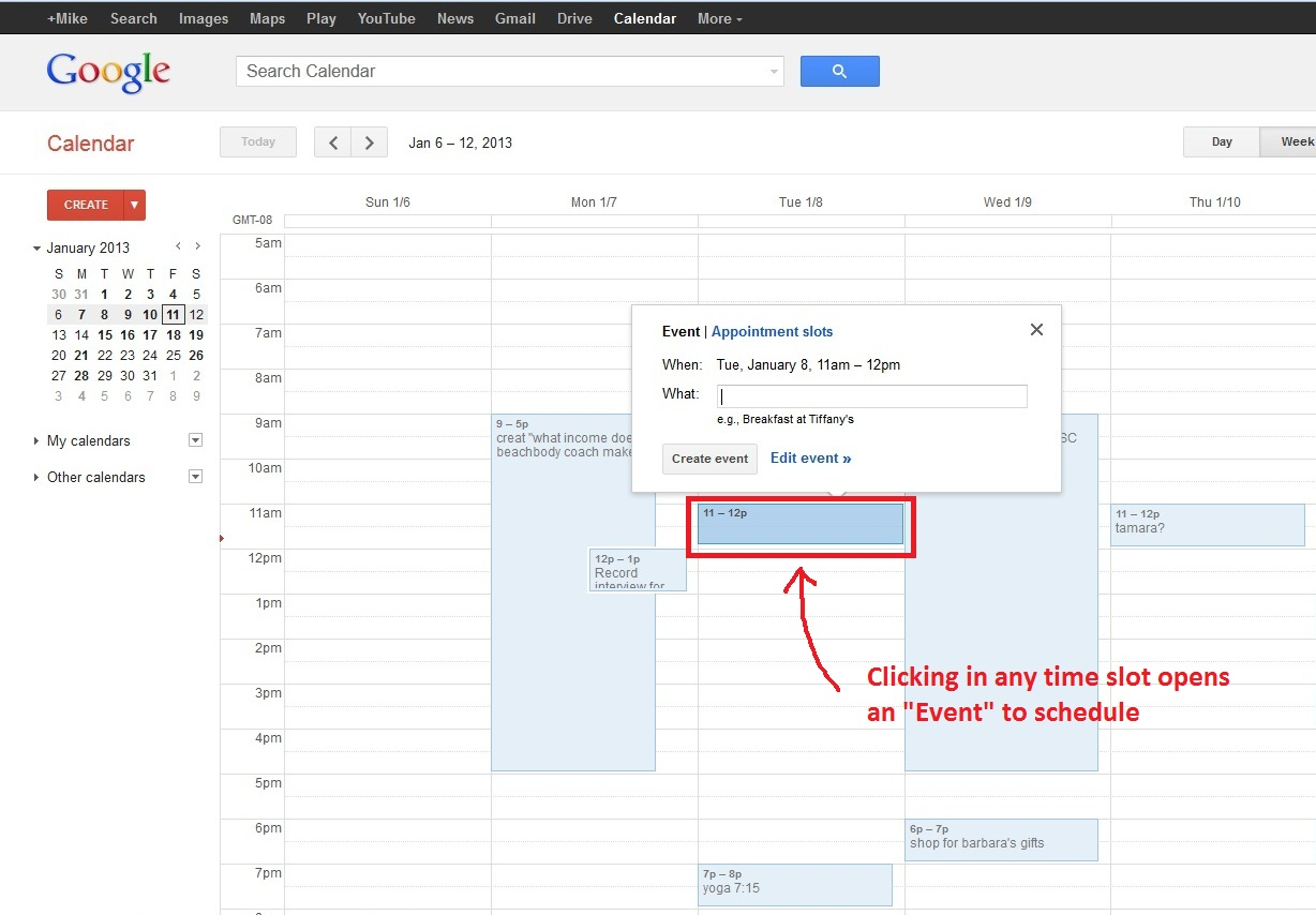 Create an appointment in google calendar