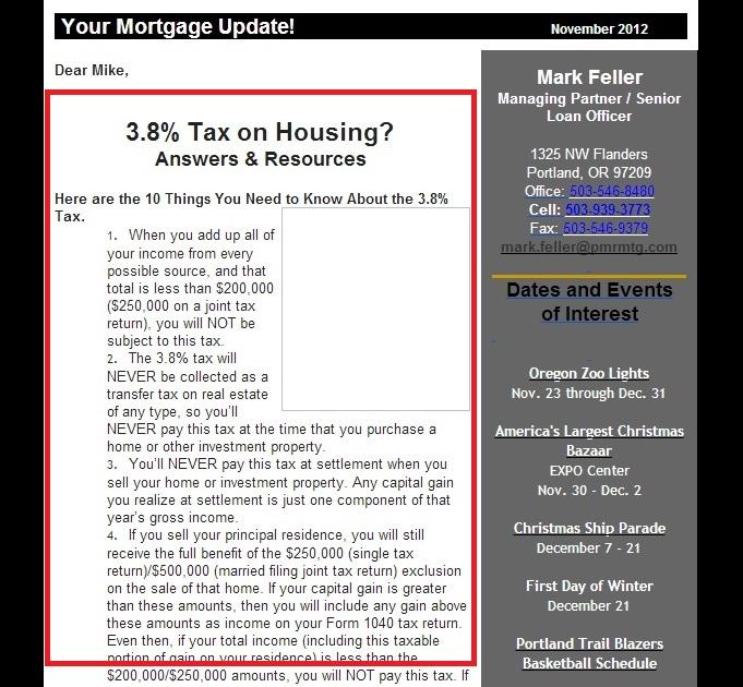 email newsletter from mortgage lender