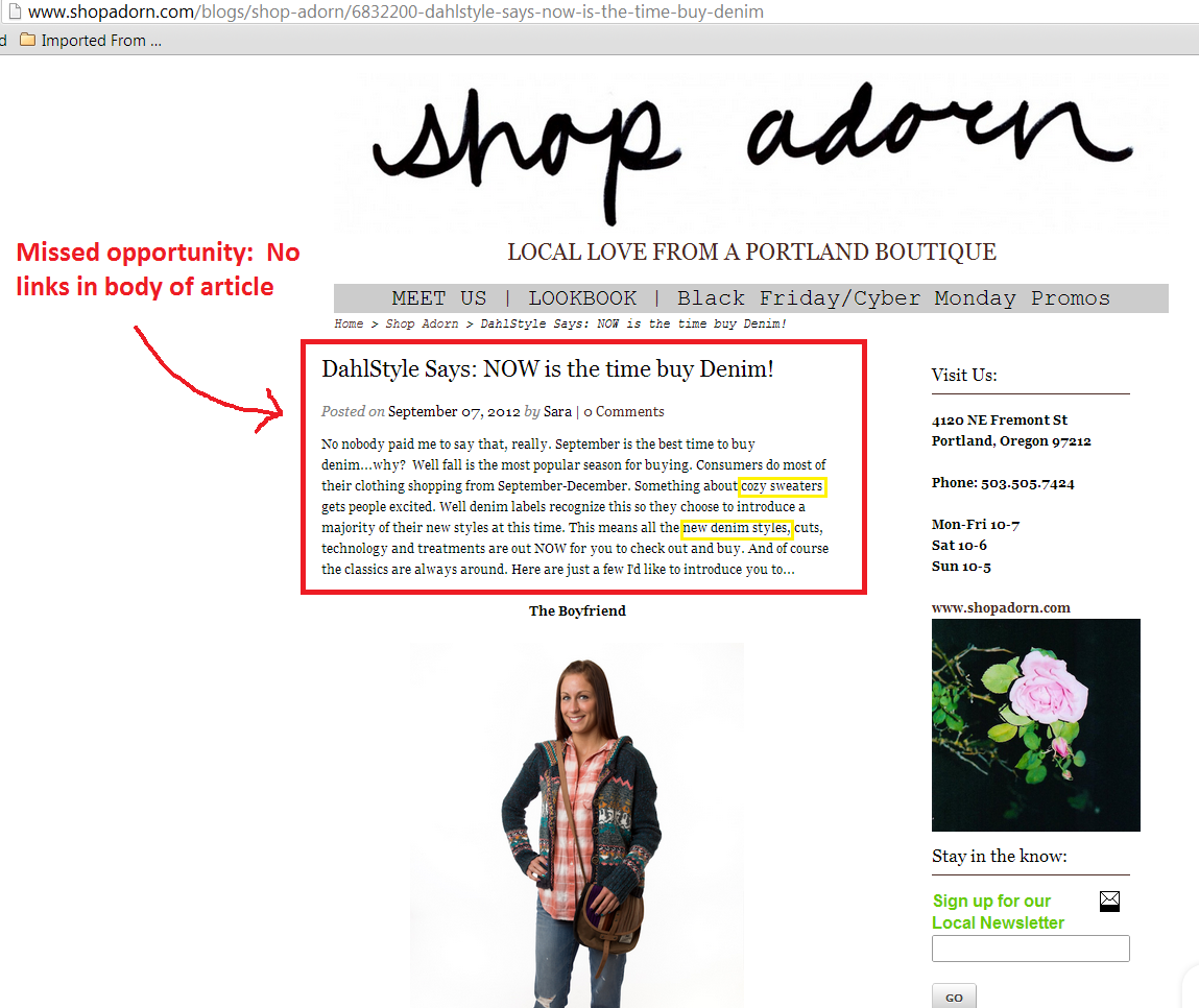 sara article on shop adorn