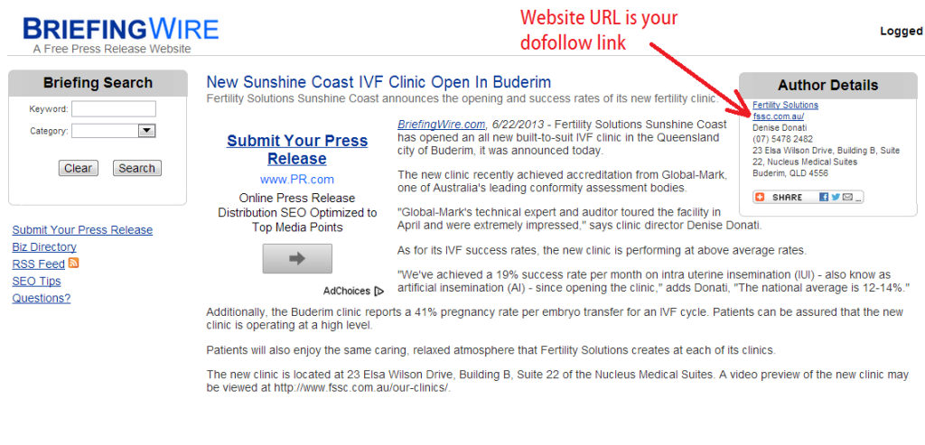 briefingwire published free press release with URL of website as dofollow link