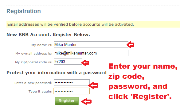 bbb - create account