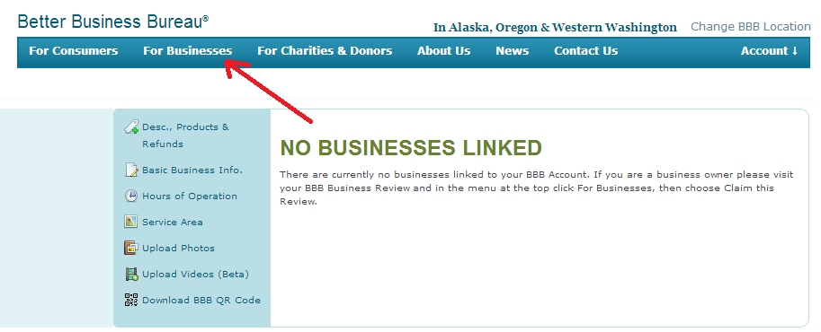 bbb - no businesses linked