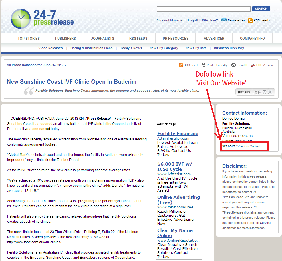 24-7 press release published with free dofollow backlink - great for seo and site authority