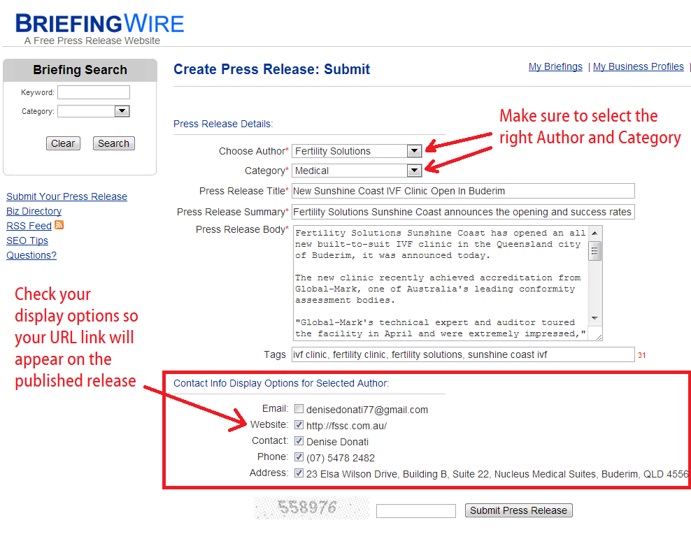briefingwire press release submission steps