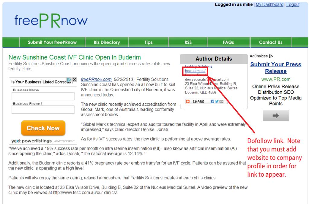 freeprnow published free press release with dofollow link