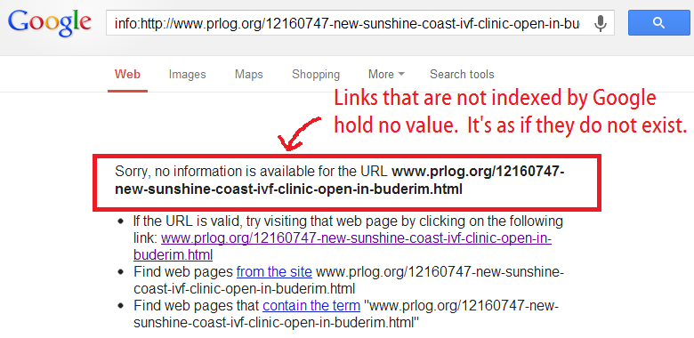 not yet indexed by google