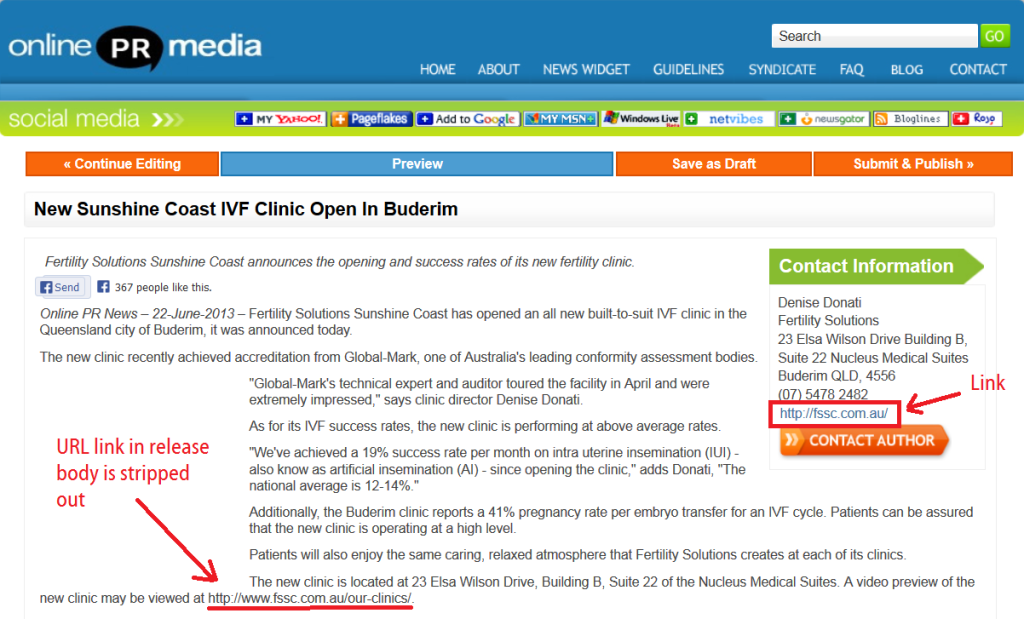 onlineprnews press release with company URL as dofollow link