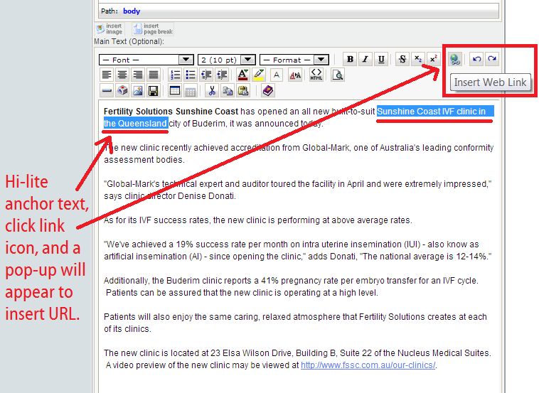 pr-usa how to install keyword rich anchor text in press release