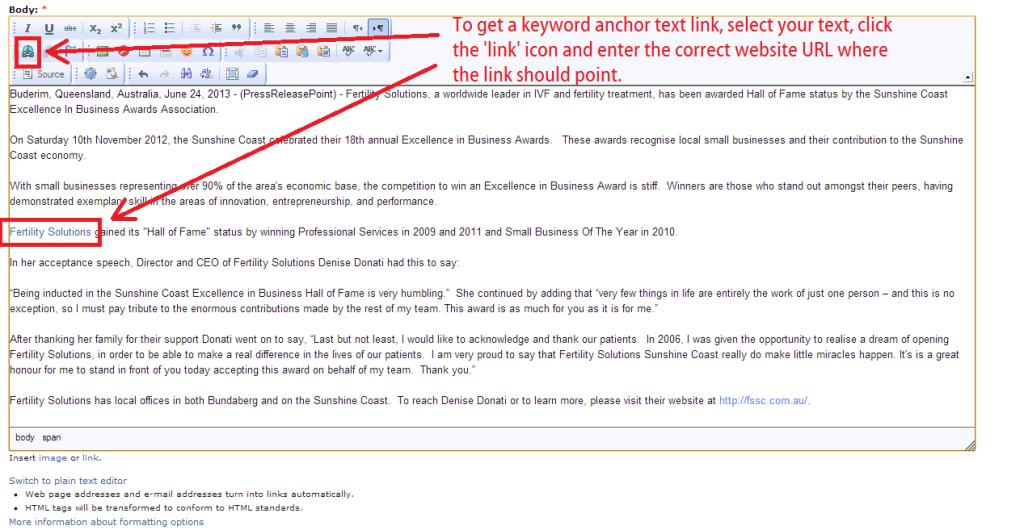 press release point - allows keyword anchor text