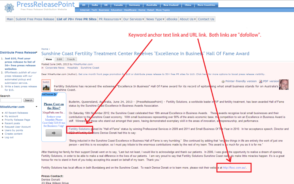 press release point - published press release with free dofollow link for seo