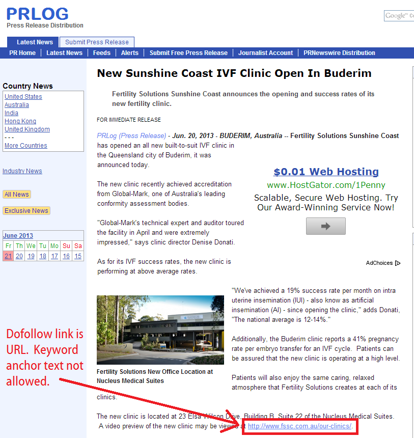 prlog published free press release with url as dofollow link