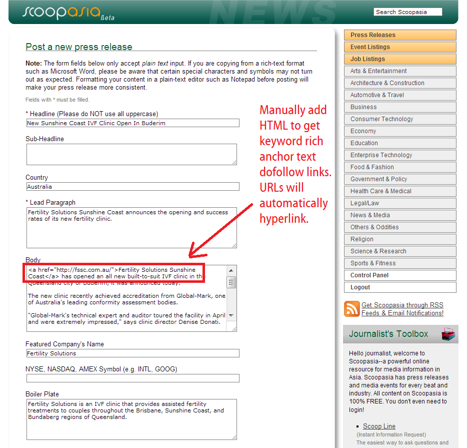 scoop asia submission guidelines - keyword anchor text with HTML