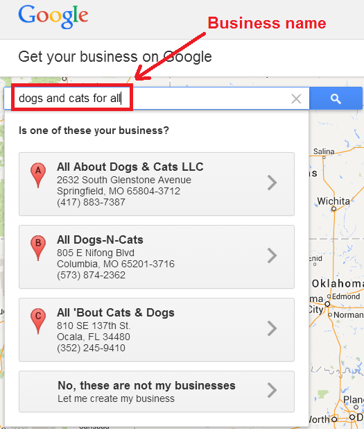 search for your business on google places 2