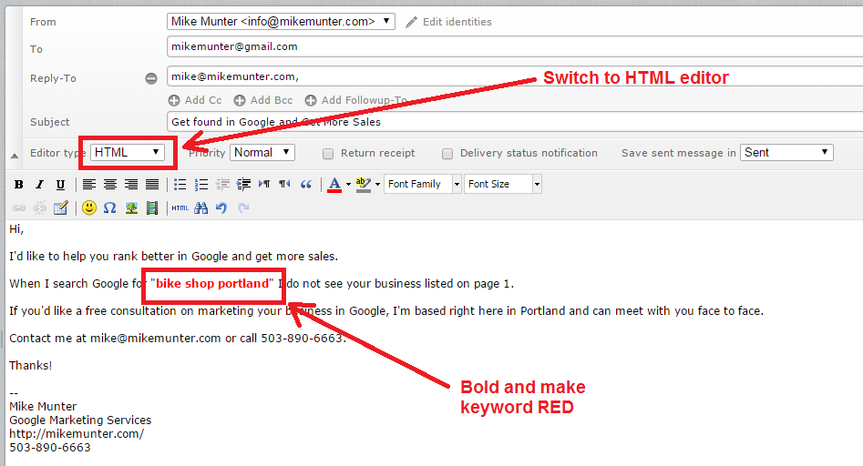 email keyword bold