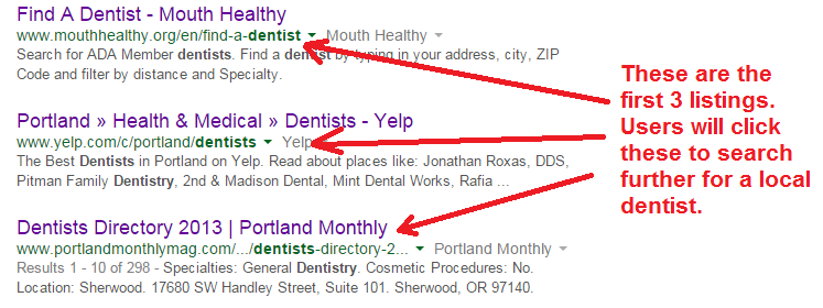 dentist directories for SEO