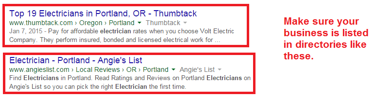 electricians SERPs business directories