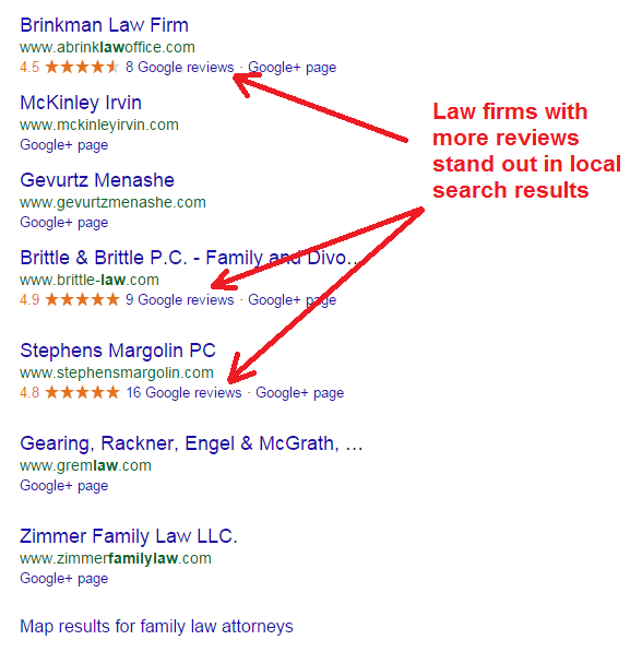 law firm reviews in google local listings