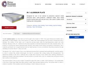 b2b web design - clinton aluminum product page