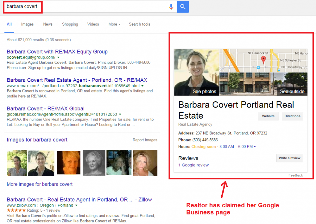 barbara covert google business page layout