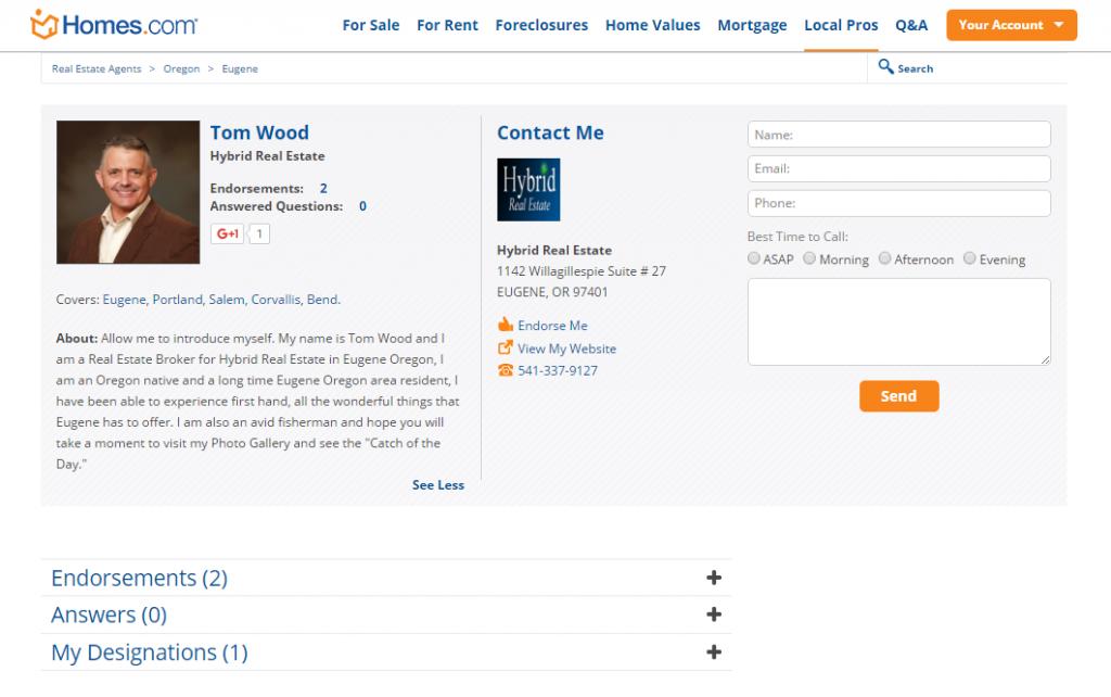 homes.com agent profile for tom wood