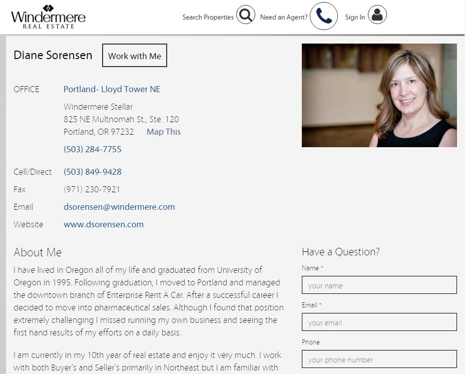 sample realtor page on brokerage website