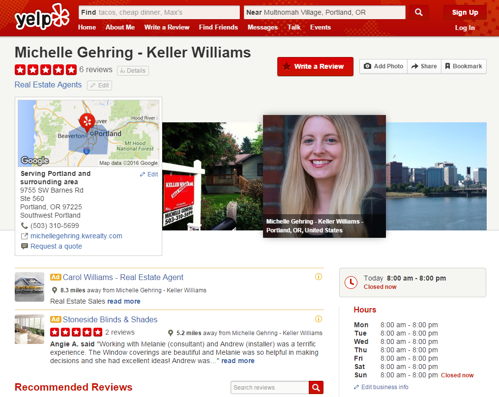 yelp page for real estate agent michelle gehring
